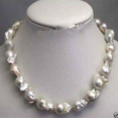 "Large 15-23mm White Unusual Baroque Pearl Necklace disc Clasp 18 "" Classic"