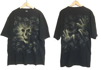 SPIRAL DIRECT Designs Halloween T-Shirt Skull Horror Goth Rock Metal 2Sided XLrg