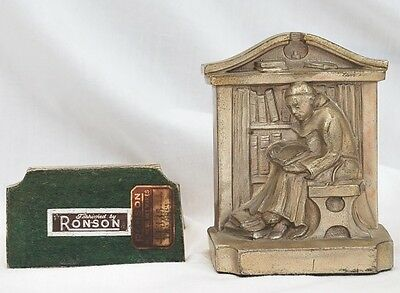 Set of metal Ronson Bookends:  Monk reading book in Library.  Copyright LVA 1922