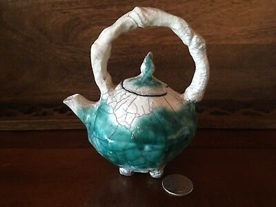 Antique Art Studio Raku Mini Footed Teapot W/ Lid Signed Turquoise & White