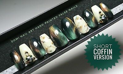EXTRA LONG Hand Painted False Nails Marble Black Cat Eye Gems Coffin Stiletto