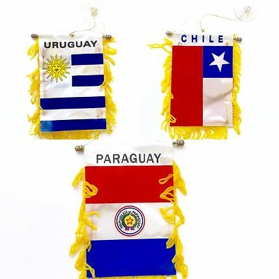 Chile Paraguay Uruguay Flag Great For Car & Home Window Mirror Hanging