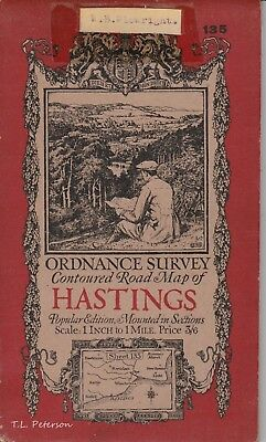 Original Cloth Backed Vintage Ordnance Survey Map of Hastings, England 1921