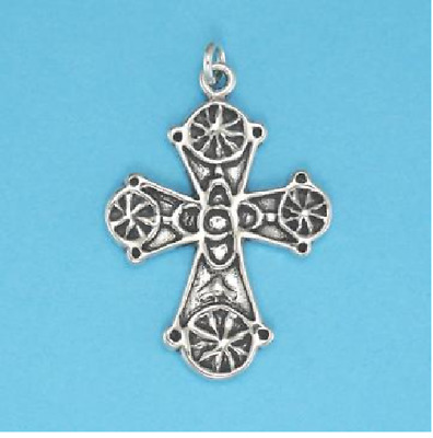 BYZANTINE CROSS PENDANT FINE JEWELRY .925 Sterling Silver or 22 Gold Vermeil