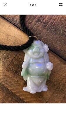Carved Jade Jadeite Pendant, Buddha? 19C. Qing Or Republic era. Chinese, Asian?