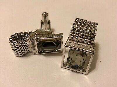 Vintage Wrap Around Mesh Men's Cufflinks w Clear Faceted Glass Stone Silver Tone