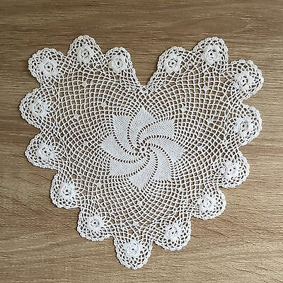 "6"" Inch Heart Shaped Cotton Crochet Lace Doily Handmade White 12 PCS Doilies"
