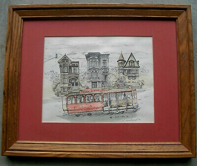 "Picture Framed 16' X 13"" - ""Powell & Hyde""  Streetcar Water Color"