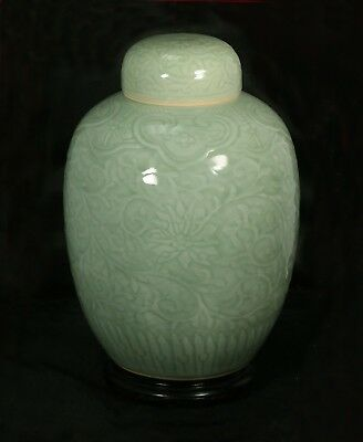 Large Antique Qing Dynasty Chinese Relief Decorated Celadon Glazed  Jar w/lid