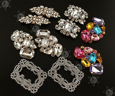 1c31412f7 2x Flower Square Crystal Rhinestone Shoe Clips Buckle Wedding Bridal Party  Decor
