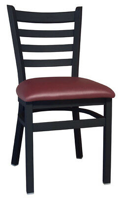New Gladiator Ladder Back Restaurant Chair with Wine Vinyl Seat