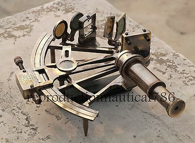 Collectible Marine Ship Instrument Antique Heavy Brass Sextant Nautical Gift