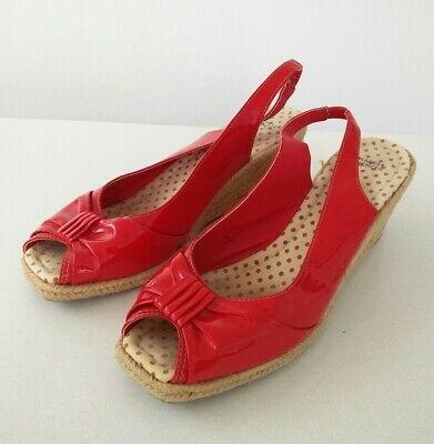 Women's marks Spencer m&s red patent sling back sandals straw wedges UK 6