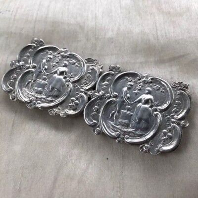Antique Silver Buckle Repousse Dutch Nurses Lovers 19th Century Art Nouveau