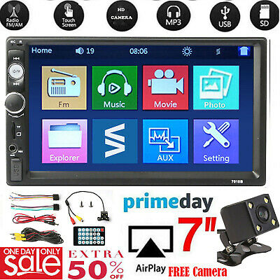 "❤️Bluetooth Car Stereo Radio 2 DIN 7"" HD MP5 FM Player Touch Screen+Rear Camera#"