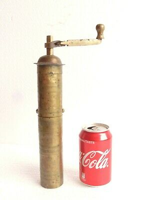 1900's Antique Ottoman Turkish Handmade Brass Coffee / Spices Grinder - Marked