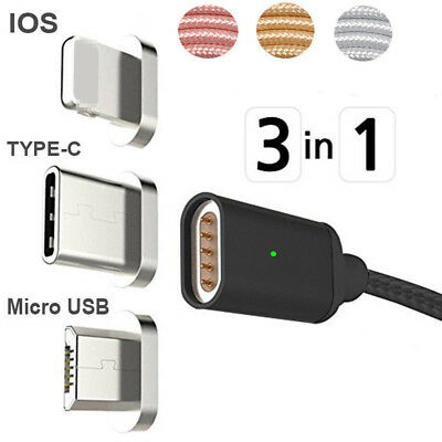 Magnetic 3in1 Lightning Type C USB Data Sync Charging Cable For iPhone X Samsung