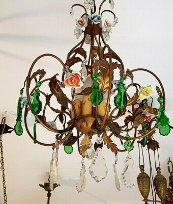 Gorgeous french antique iron chandelier porcelain roses and green pendants