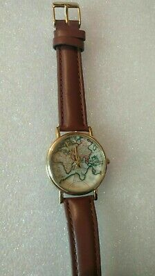 Ladies Globe/World Map Gold Case Watch Brown Genuine Leather Strap/ Travel Gift