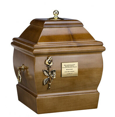 Cremation Urn for Adult made from solid wood Funeral ashes Casket Memorial URN