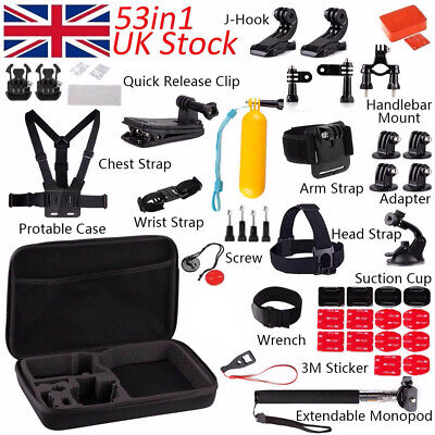 53 Accessories Pack Kit Set Case Chest Head Strap Handlebar GoPro Hero 7 6 5 4 3