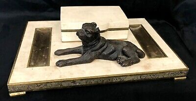 Antique Polised Limestone Desk Tidy With Bronze Inlay And Bronze Dog Figure