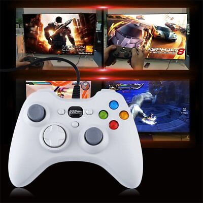 White Wired Gamepad USB Port Controller Joystick For X360 GamingKY