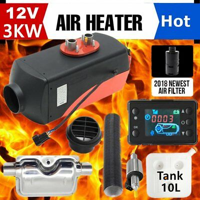 12V 3KW Diesel Air Heater Tank,Vent, Duct, Thermostat Caravan W/ LCD switch UK✯