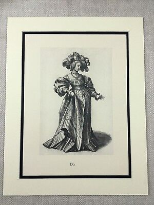 Hans Holbein Print Vintage Large RARE Limited Edition Art Noble Woman Drawing