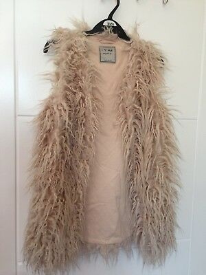 Girls Next Pale Pink Faux Fur Long Gilet Size 8 Years