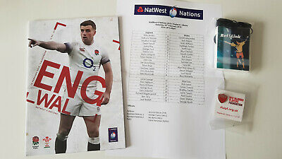 England v Wales Six Nations rugby 10.02.18 match day program, and RefLink radio