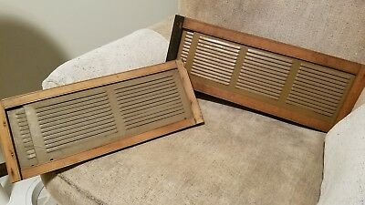 """TWO VINTAGE METAL AND WOOD EXPANDABLE LOUVERED WINDOW SCREENS  21"""" L x 8"""" W"""