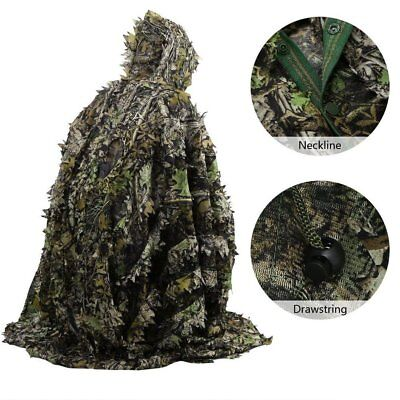 3D Leaves Camouflage Poncho Cloak Stealth Suits Outdoor Woodland CS Clothing L/