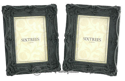 TWINPACK Sixtrees Shabby Chic Very Ornate Antique Black 7x5 inch Photo Frames