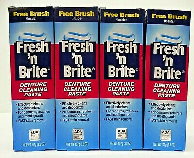 Fresh n Brite Denture Cleasing Paste with Brush Lot x 4 NEW Exp 10/19
