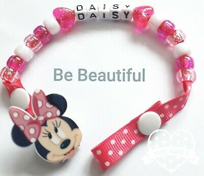 Personalised Dummy Clip holder MINNIE MOUSE🐭 PINK, use on Bag, Pram, Car seat