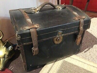Antique Luggage Quirky Dome Top Travelling Trunk Rare Small Size 39cm
