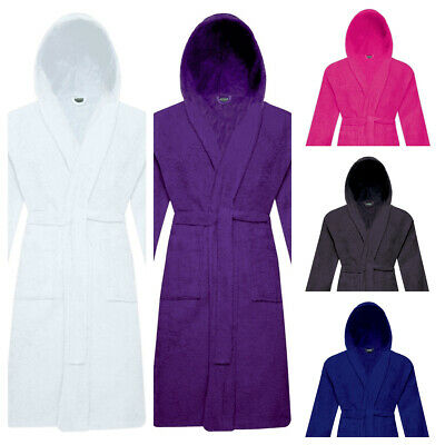 Unisex 100% Egyptian Cotton Terry Toweling Dressing Gown Hooded Bath Robe Soft!!