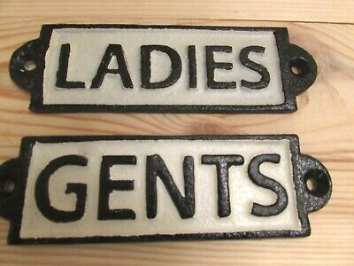 Toilet Door Signs Ladies and Gents Solid Cast Iron Pair Free Shipping