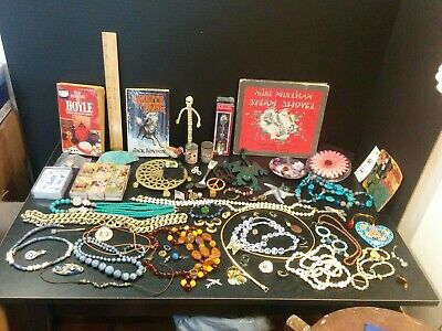 Junk Drawer Lot Jewelry Costume Jewelry Vintage Items Pins Books Necklaces...