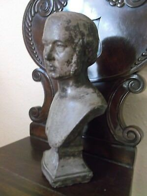 Rare Antique 19Th Century Large Cast Stone Library Bust Of A Young Prince Albert