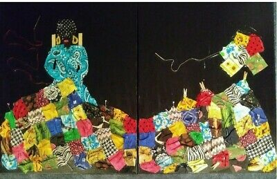 African American artist Karen Terry Fabric art on two 16 in x 20 in canvas