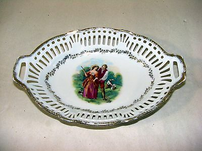 Vintage Oval Reticulated Celery Dish w/ Outdoor Family Scene - Germany