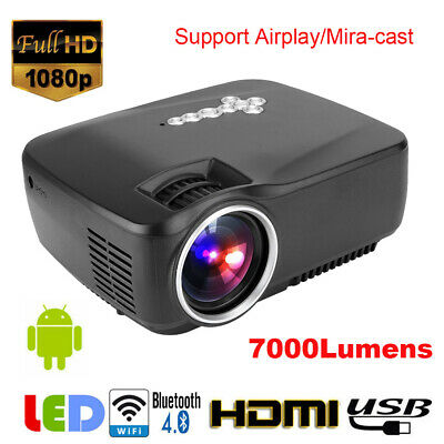 GP70UP 1080P WiFi Android Bluetooth 3D LED Projector Home Cinema 7000LM HDMI LJ