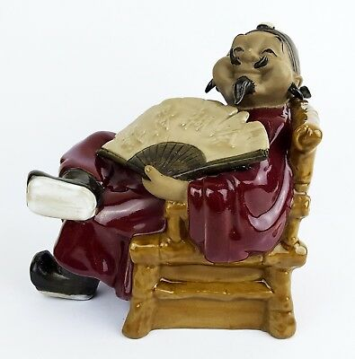 Rare Chinese Mud Man Figure - Shiwan Pottery - China - Man in Chair with Fan