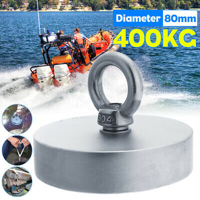 80mm 400KG Powerful Hook Magnet Strong Neodymium Hold Fishing Kit For Salvage AU