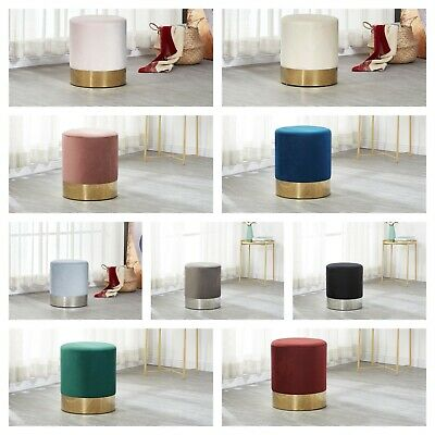 Dolce Velvet Stool Pouffe with Gold Surround in Green, Blue, Pink Grey, Black