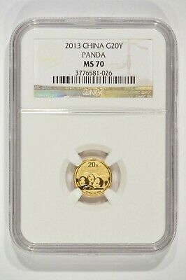 2013 China 1/20th oz Fine Gold Panda 20 Yuan G20Y NGC MS70 3776581-026