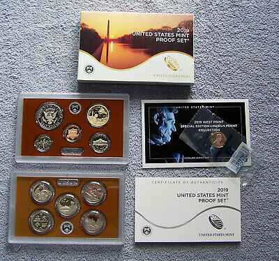 2019-S US Mint Proof set 10 Coins + First Ever (W) Mint Mark Lincoln Cent