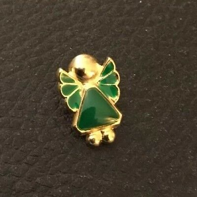 """⭐️ Vintage 5/8"""" Realistic Novelty Figural Green & Gold Tone Metal Angle Button"""
